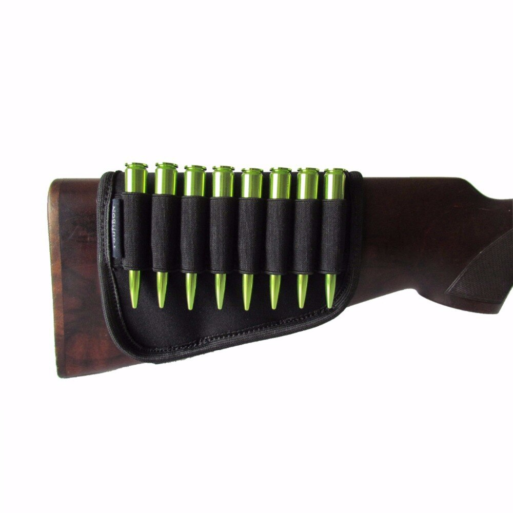 Durable Buttstock Ammo Shell Holder Elastic Black Neoprene Hunting Rifle Cartridges 8 Shells Hunting Gun Accessories