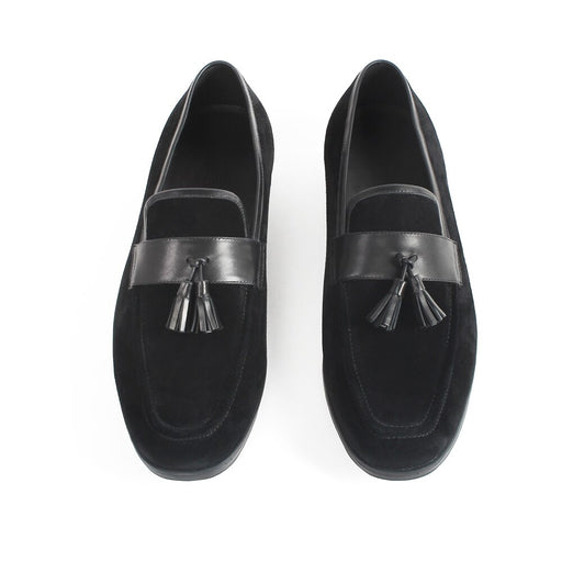 New Slip-On Suede Tassel Loafers Shoes Flat Square Toe Customized Men's Casual Footwear Office Driving Zapato Hombre
