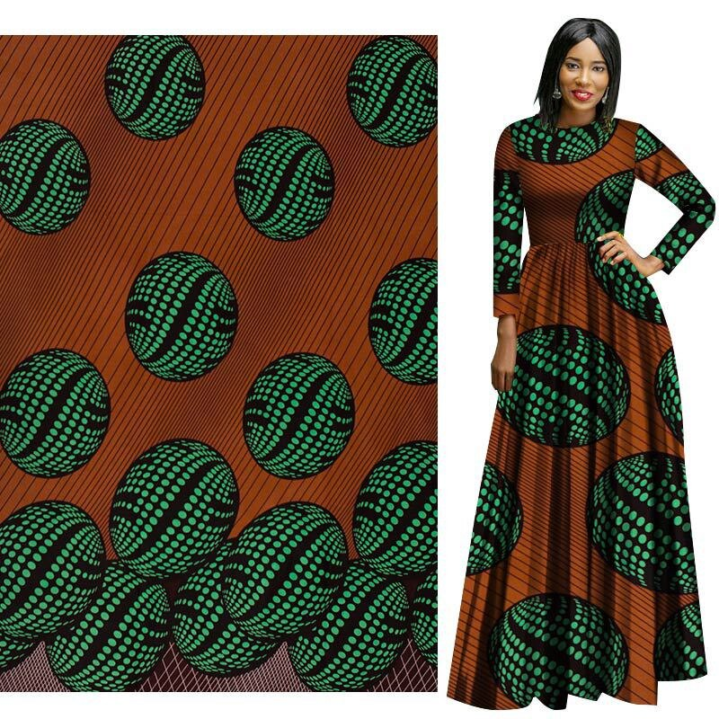 Green Brown 100% Polyester African Prints Ethnic Garment Fabric