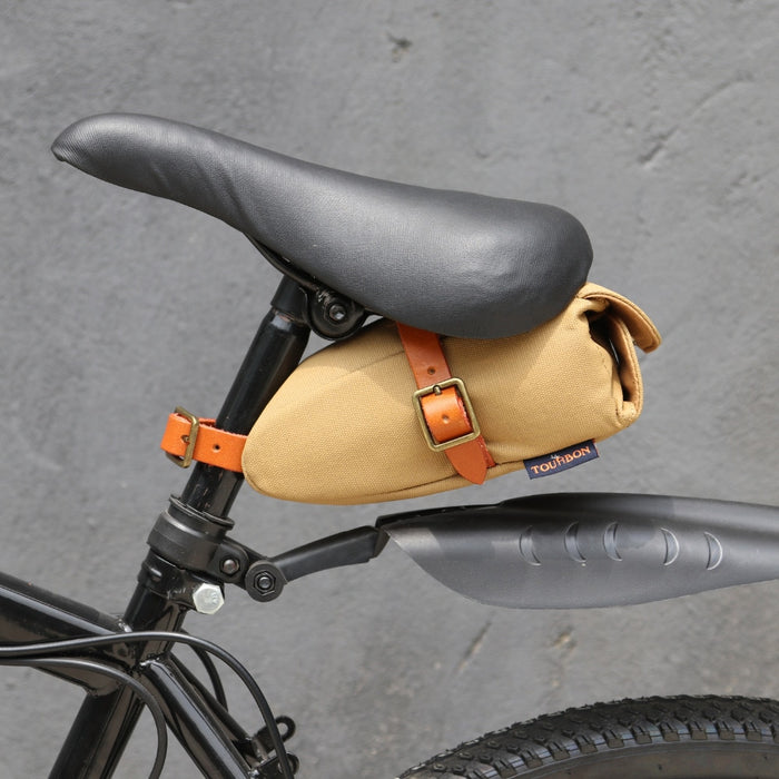 Vintage Portable Bicycle Bike Seat Tail Saddle Bag Khaki Canvas Leather Key Phone Pouch Cycling Bike Accessories