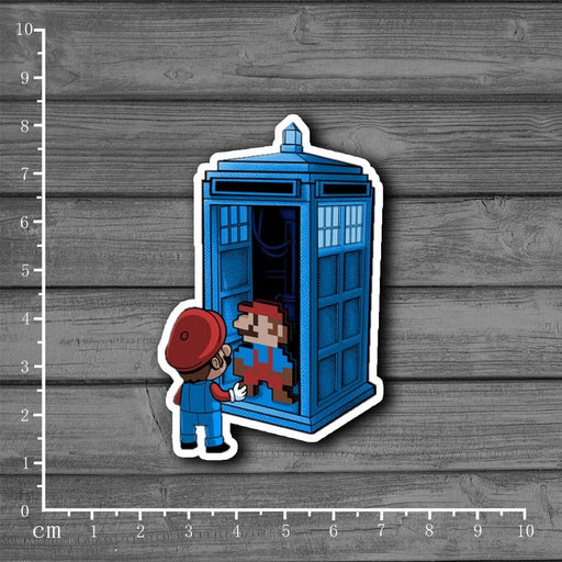 Mario Doctor Who Police Box Waterproof Sticker for Notebooks /Laptops