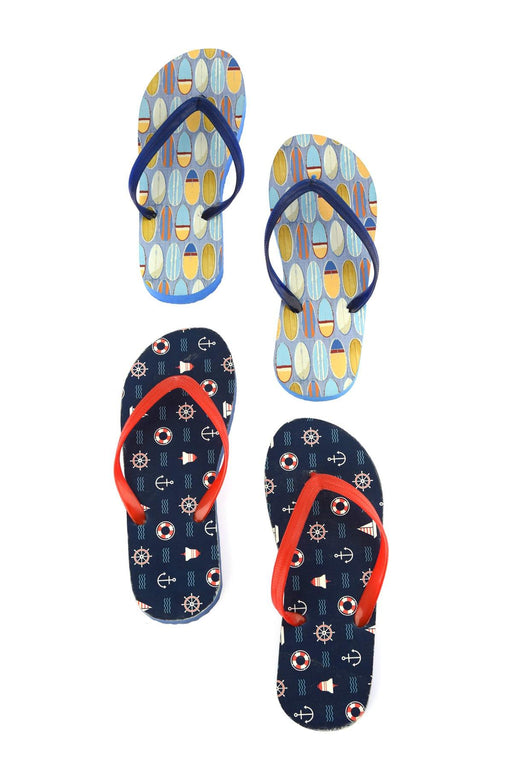 Multicolour Male 2 Pack Pattern Thong Slippers