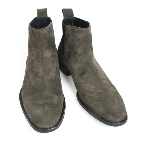 Autumn Cow Suede Leather Flat Chelsea Boots Green Color Handmade Military Ankle Boots Bespoke Round Toe Botas de Hombre