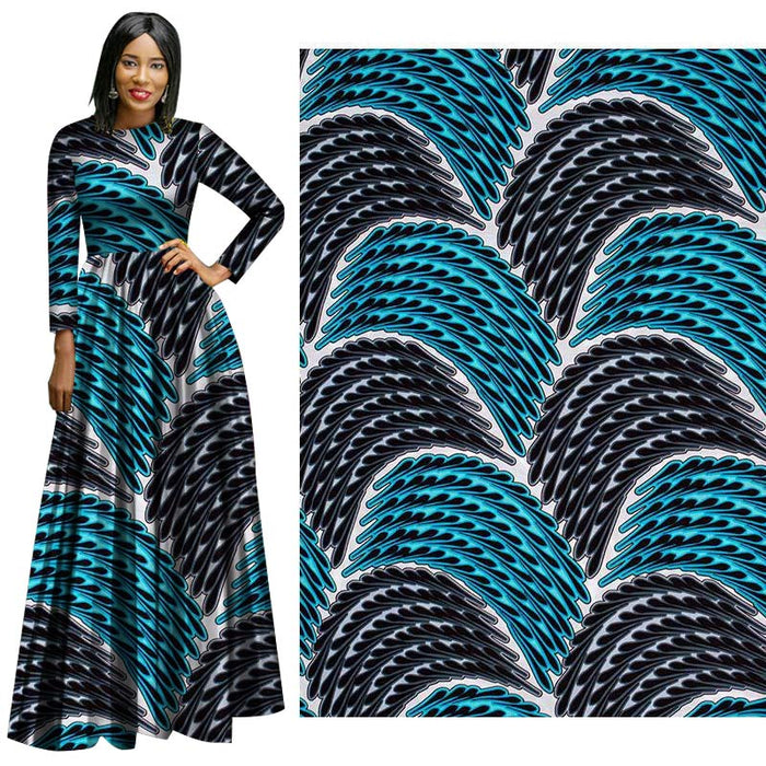 Blue Waterfall African Prints Ethnic Garment Fabric