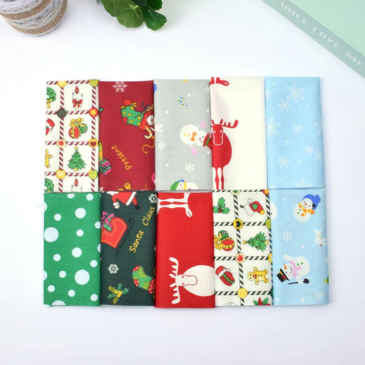 10Pcs Christmas Style Cotton Printed Fabric