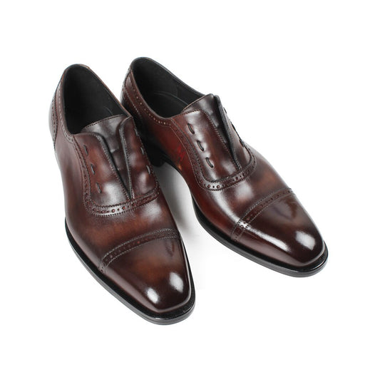 Patina Brown Custom Made Men's Oxford Shoes Birds Engraving Mans Footwear Elastics Band Wedding Office Dress Shoes Male