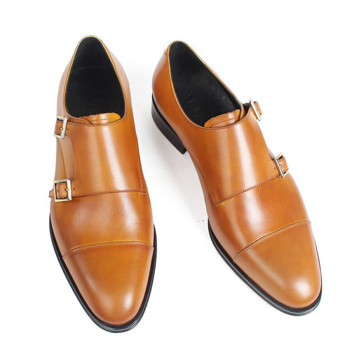 Round Toe Handmade Monk Shoes Men Genuine Cow Leather Plain Brown Mans Footwear Wedding Office Dress Shoes Zapato Hombre