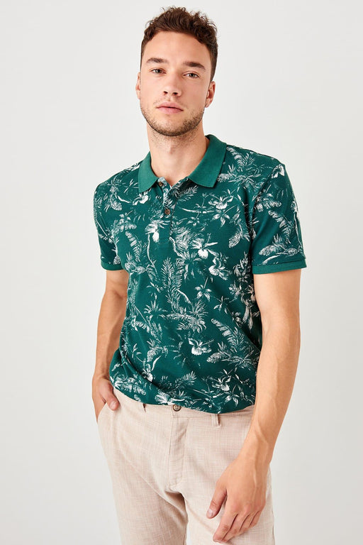 Green New Men Printed New Polo Collar T-Shirt
