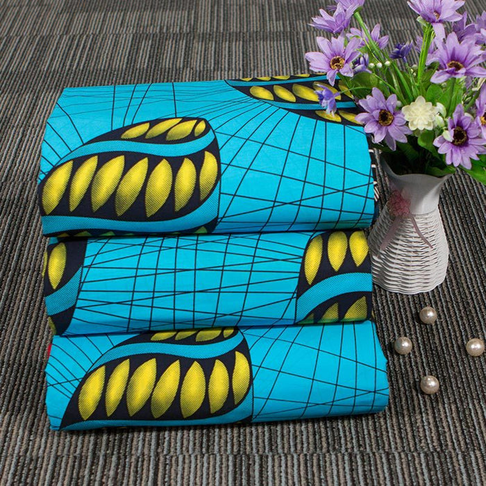 Blue Yellow Shell African Prints Ethnic Garment Fabric