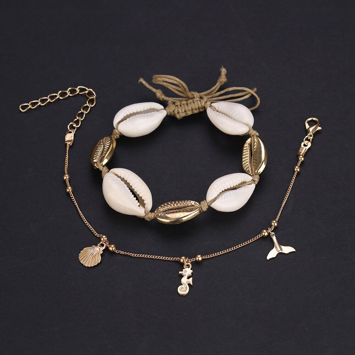 2 Pcs/set Women Fashion Shell + Gold Fishtail Anklet Set