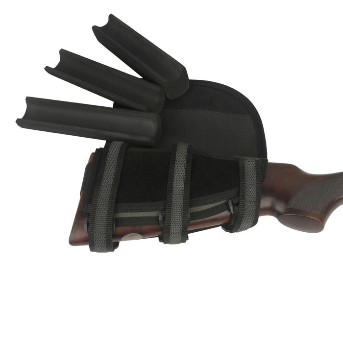 Hunting Shooting Rifle Gun Buttstock Cheek Rest Ammo Cartridges Holder with 3 Adjustable Pads Gun Accessories