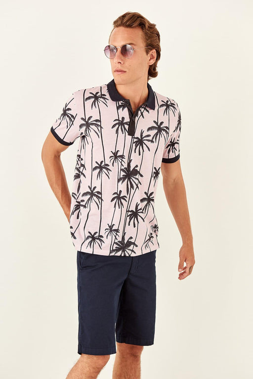 Pink Male Palm Printed New Polo Collar T-Shirt