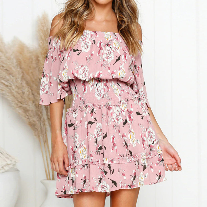 Slash Neck Floral Print Women Dresses