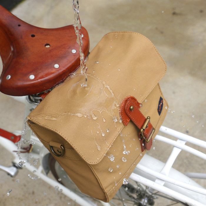 Retro Bike Handlebar Bag Bicycle Front Basket Pannier Messenger Pouch Outdoor Cycling Accessory Waterproof Canvas Khaki