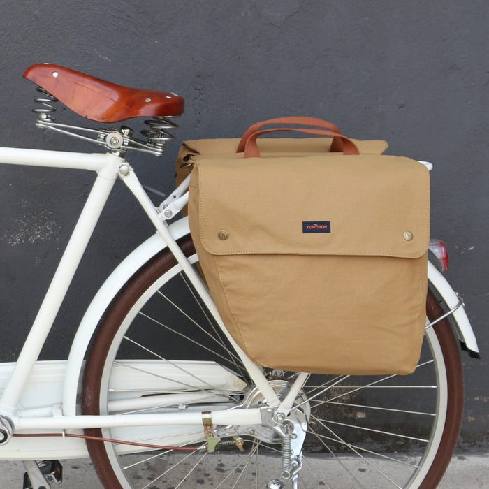 Vintage Bicycle Pannier Bag 23L Retro Cycling Bike Back Seat Rear Rack Trunk Two Storage Bags Waterproof Canvas