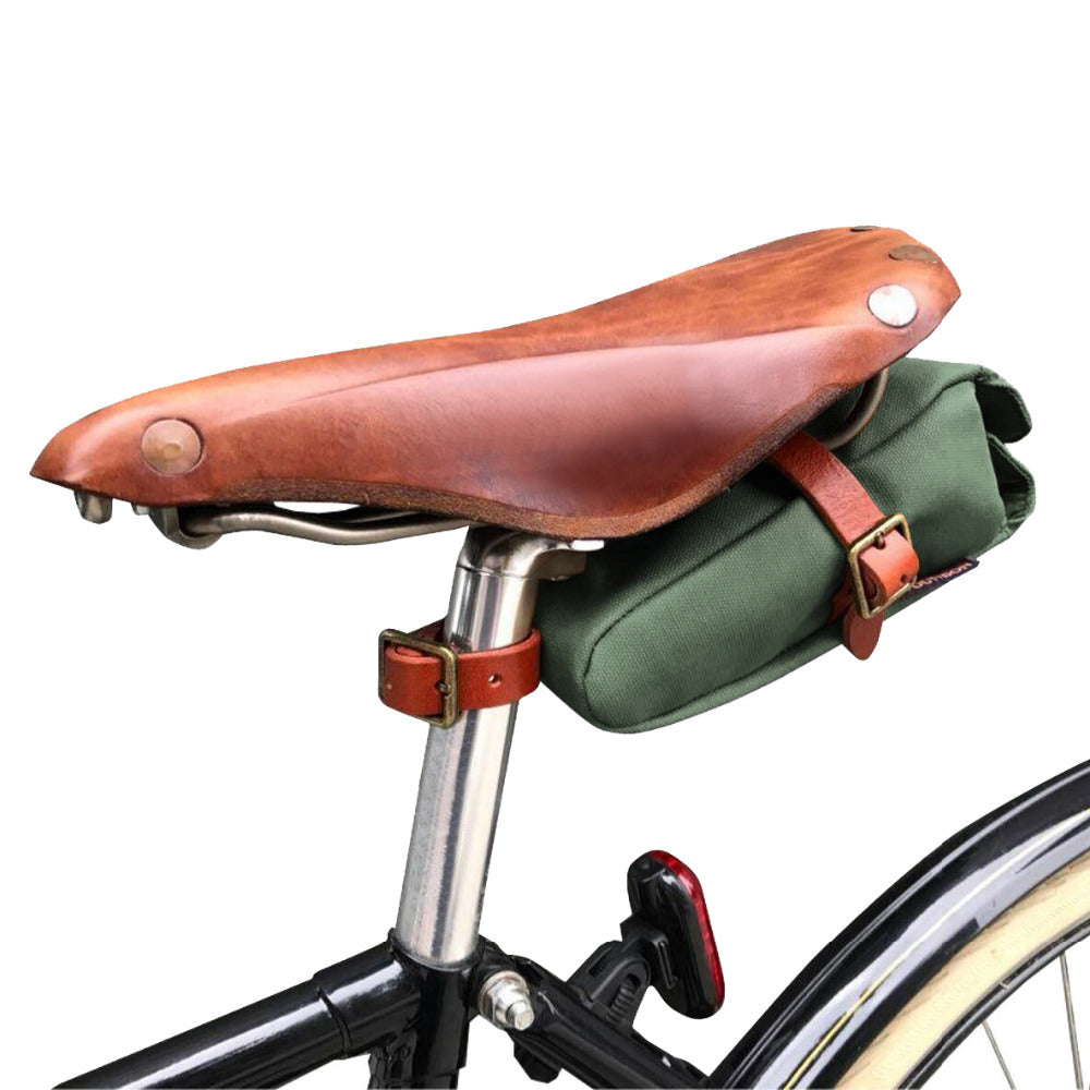 Vintage Bike Saddle Bag Bicycle Seat Tail Case Waxed Canvas Phone Pouch Cycling Accessories Water Repellent