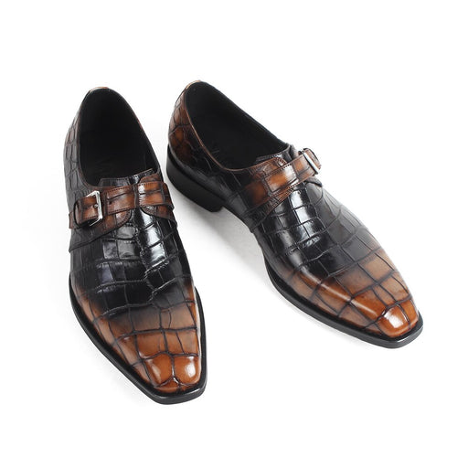 New Men's Crocodile Leather Shoes Classic Plaid Male Formal Dress Shoe Brand Handmade Wedding Office Footwear Zapatos