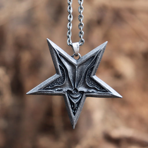 Mens Satanic Satan Inverted Pentagram Necklaces Baphomet Jewelry Demon Chaos Star Skull Pendant Ancient Silver Color