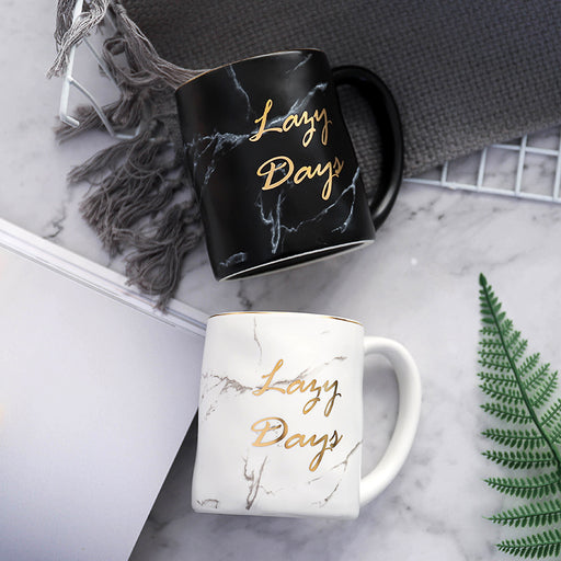 Nordic Gold Letter Lazy Days Marble Coffee Mug