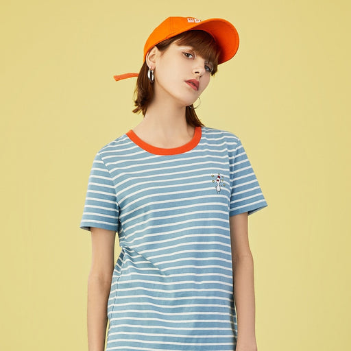 SummerWomen T-Shirt (Casual Stripe Print Cartoon Logo Round Neck Short Sleeve)