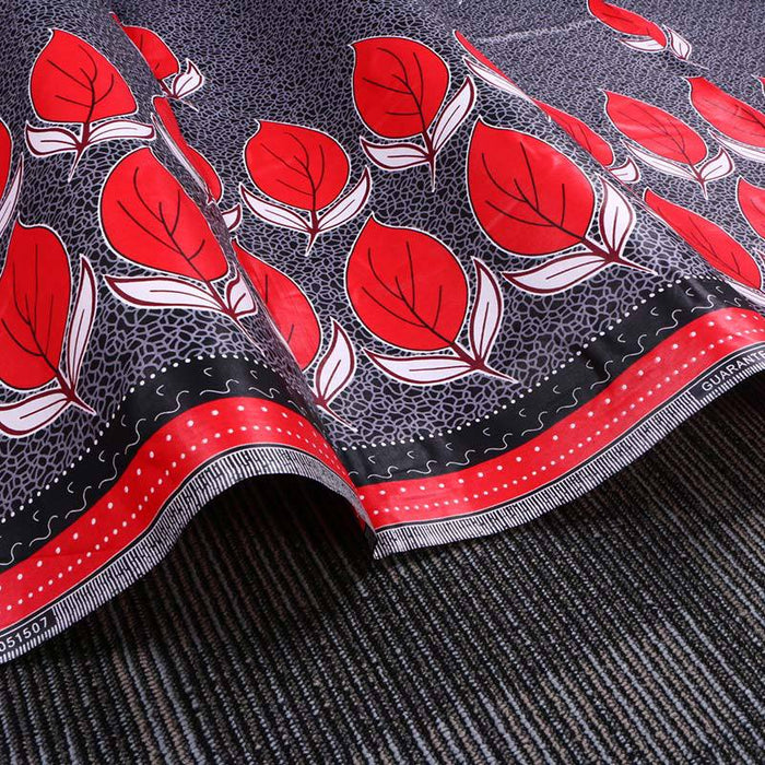 Red Leaf African Prints Ethnic Garment Fabric