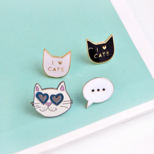 Cool Heart Sunglasses Cat Black white kitten Enamel pins Cartoon Dialog Box Denim Lapel Badges Brooches