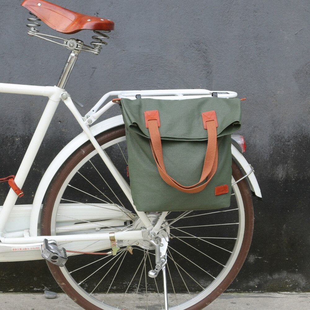 Retro Bicycle Bag Bike Rear Seat Carrier Bags Vintage Cycling Pannier Bags Pack Green Waxed Canvas Waterproof Pouch