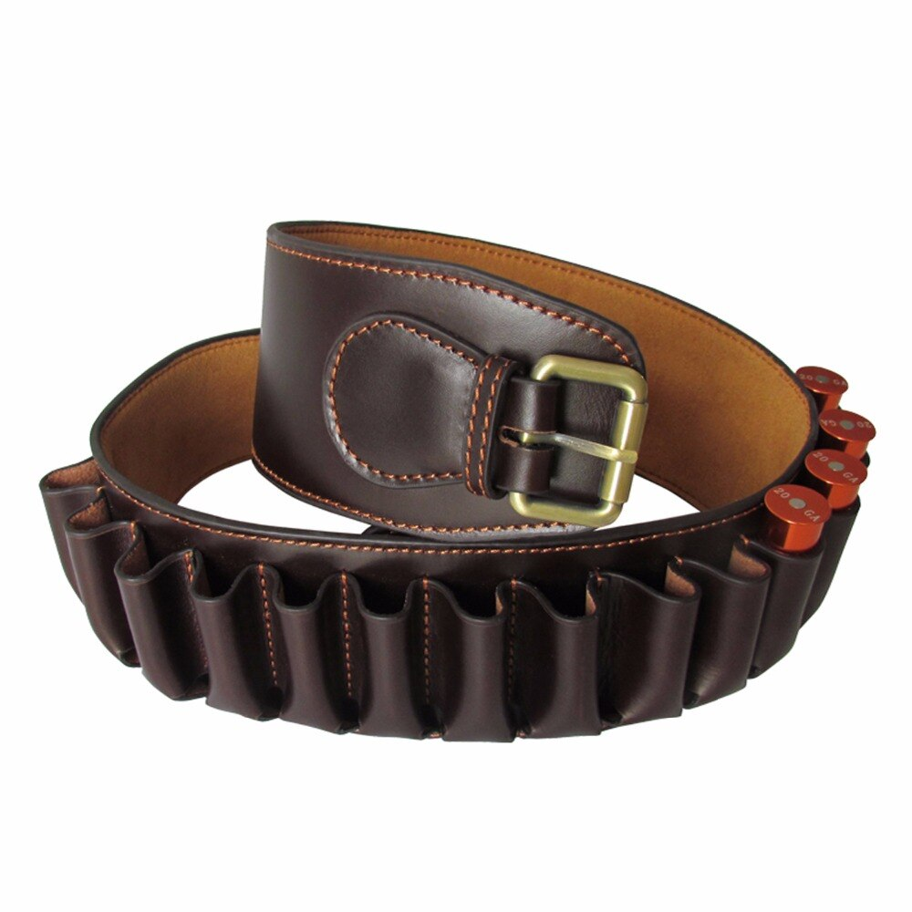 Hunting Tactical Durable Brown Genuine Leather 12 Gauge Shotgun Ammo Shell Belt Hunting Gun Accessories