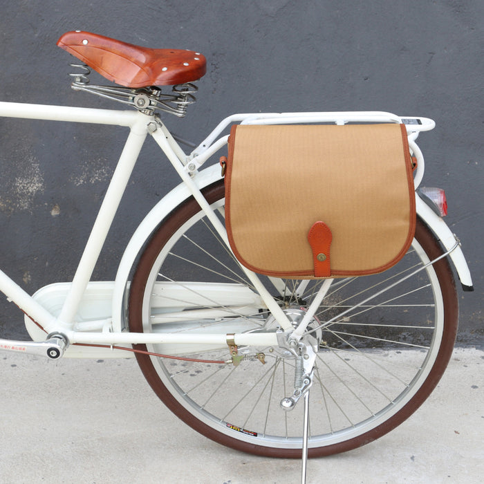 Vintage Bicycle Bag Front Handlebar Retro Bike Panniers Backseat Bags Messenger Khaki Canvas Water Repellent for Cycling