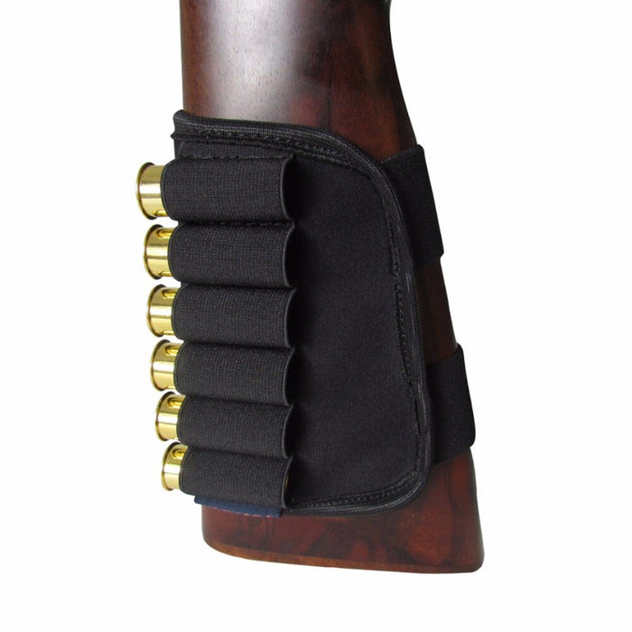 Tactical Hunting Shotgun 12 Gauge Buttstock Ammo Shell Holder 6 Rounds Black Neoprene Waterproof Shooting Gun Accessory
