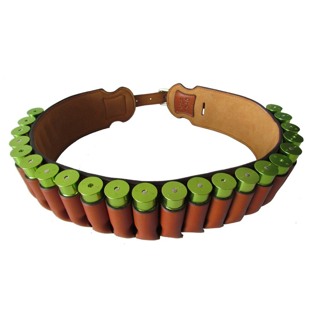 Tactical Hunting Gun Accessories Brown Real Leather 12 Gauge Bandolier Shotgun Shell Holder Cartridge Ammo Belt 89-106CM