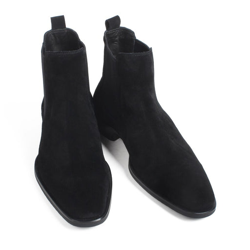 Autumn New Fashion Cow Suede Flat Chelsea Boots For Men Black Slip-On Suede Lining Handmade Driving Boots Hombre