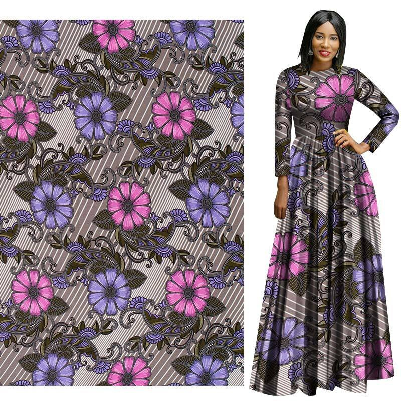 Gray Flower African Prints Ethnic Garment Fabric