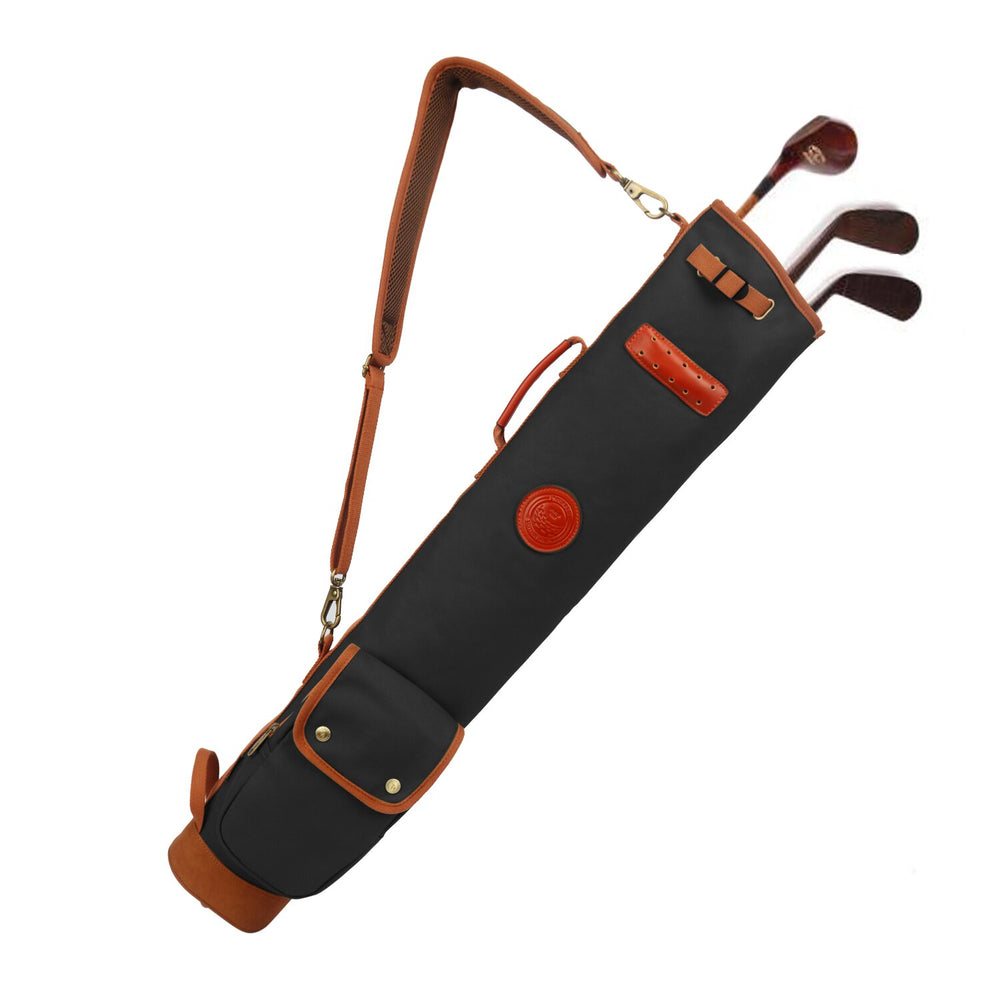 Vintage Golf Bag Clubs Carrier Pouch Fleece Padded Pencil Style Waxed Canvas Water Repellent Cover 90CM