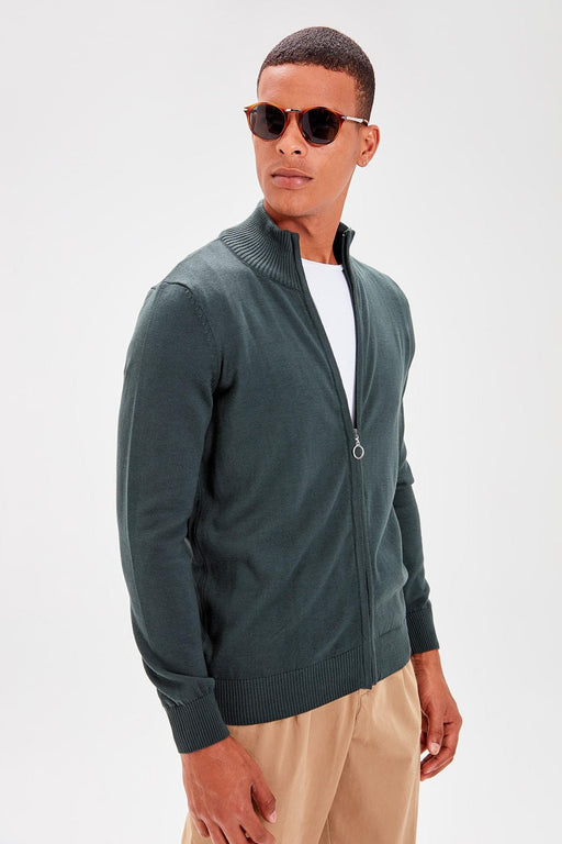 Green Male Basıc Upright Collar Front Zipper Cotton Sweater Cardigan New