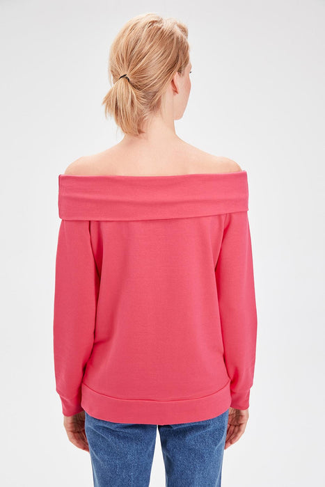 Fuchsia Carmen Collar Knitted Sweatshirt