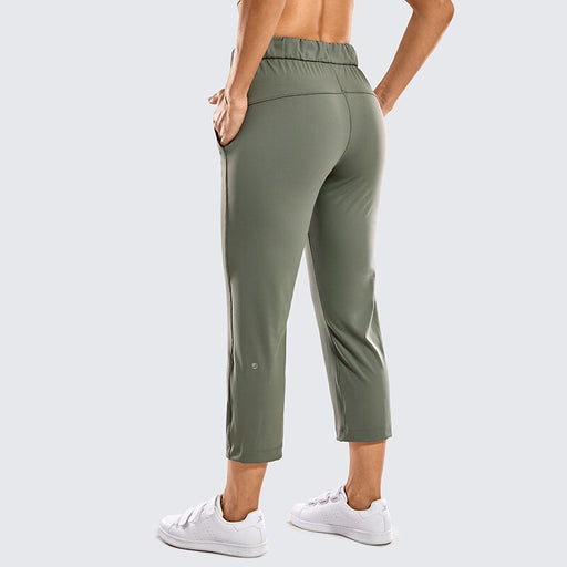 Women's On the Travel Mid Rise Capri Joggers Stretch Casual Pants Crop with Pockets