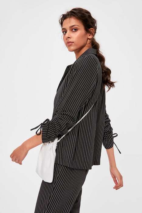 Black Striped Knitted Jacket