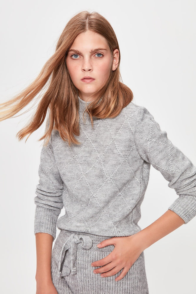 Gray Mesh Detailed Knitwear Sweater