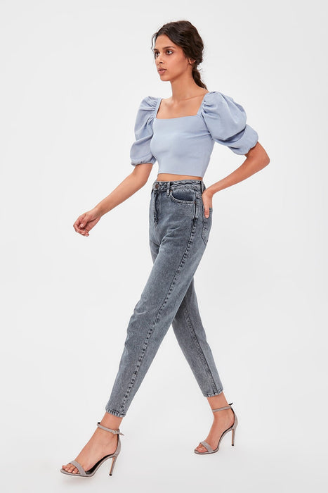 Anthracite High Bel Mom Jeans