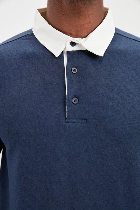 Male Long-Sleeve Polo Collar New T-shirt