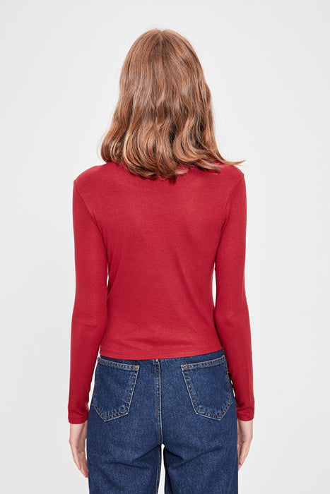 Burgundy Crop Knitted Blouse