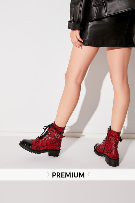 Red Snake Pattern Women 'S Boots