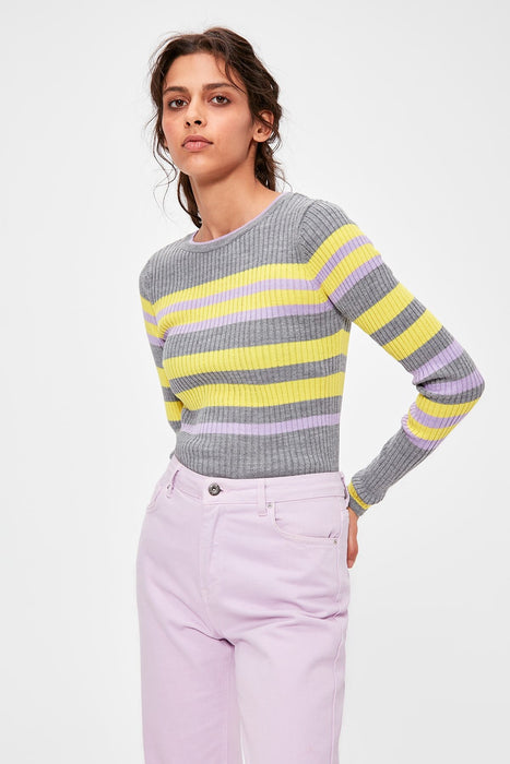 Gray Striped Knitwear Sweater