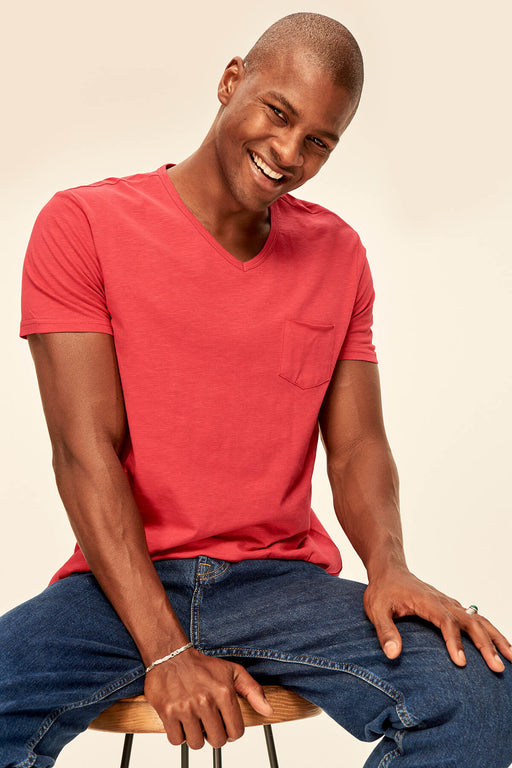 Red Grey White Blue Green Yellow Presser Men's T-Shirt - Slim Fit Short Sleeve V Neck Pocket Detail