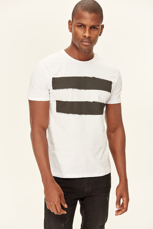 White Men Slim Fit Printed T-shirts