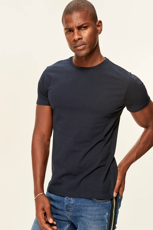 Navy Blue Men's T-Shirt - Short Sleeve Neck Cotton
