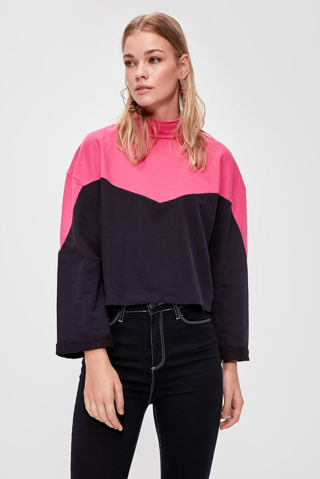 Color Block Knitted Sweatshirt