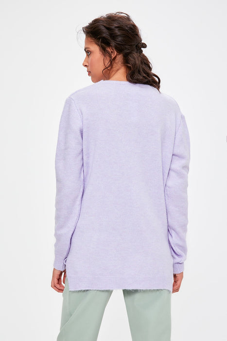 Lilac V Collar Long Sweater Sweater