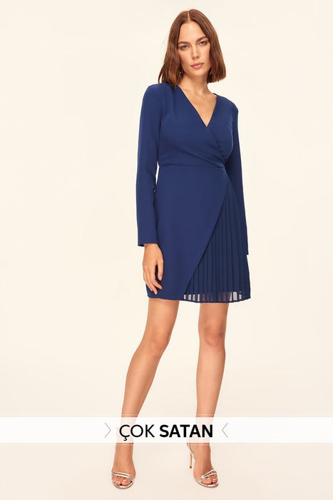 Navy Blue Pleat Detail Dress